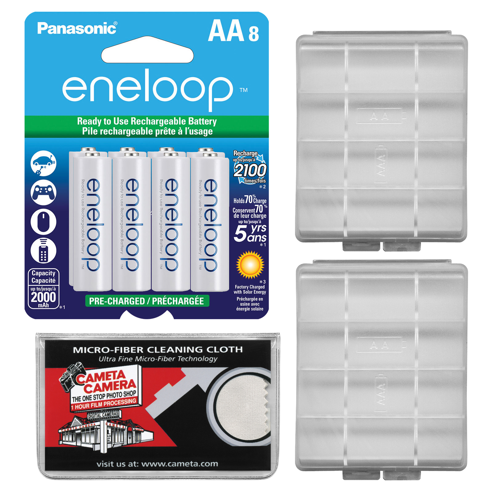 Panasonic eneloop (8) AA 2000mAh Pre-Charged NiMH Rechargeable Batteries with (2) AA Battery Cases + Microfiber Cleaning Cloth