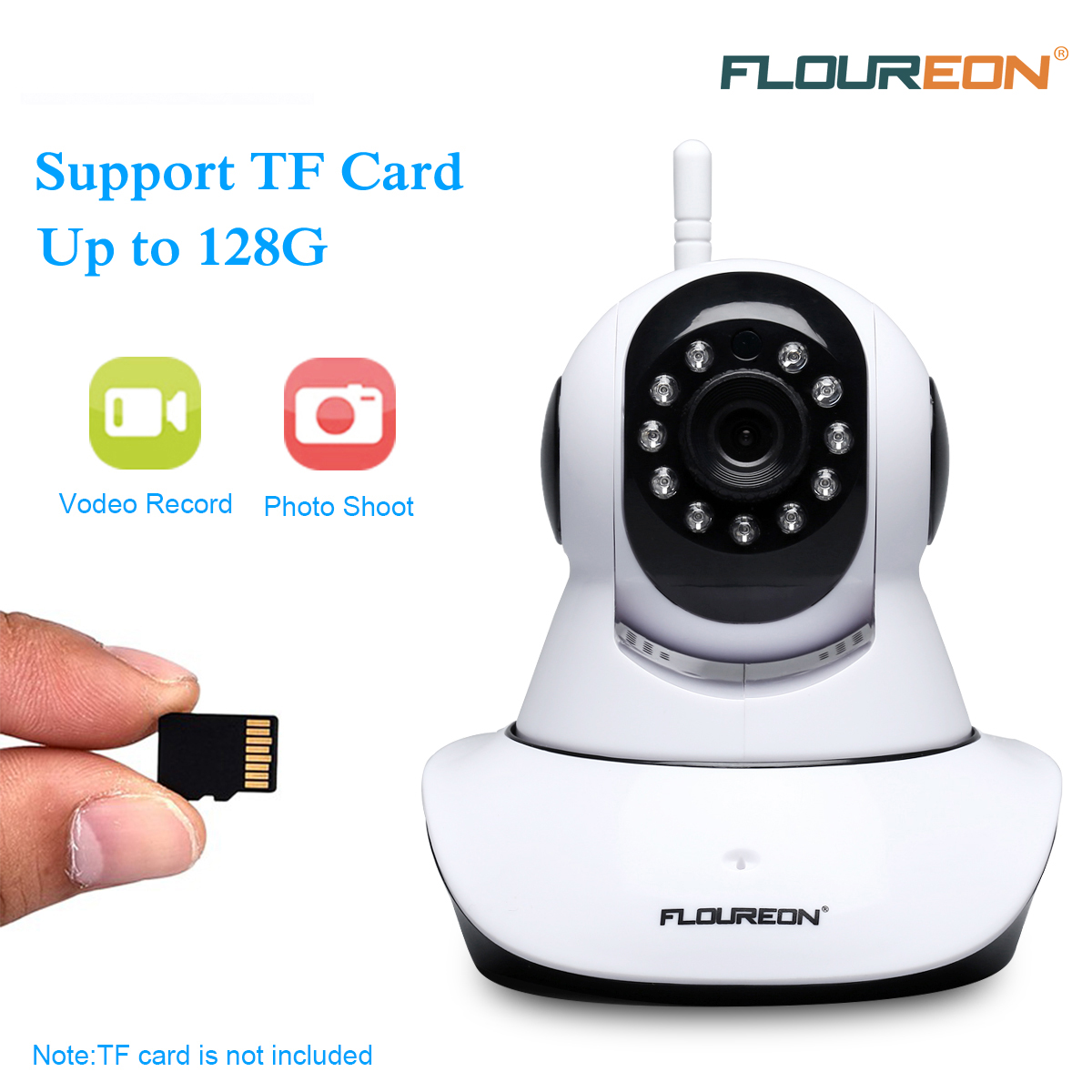FLOUREON Wireless IP Security Camera ONVIF 720P WiFi IP Camera Pan/Tilt Two-Way Audio & Night Vision Baby/Elder/Pet/Nanny Monitor
