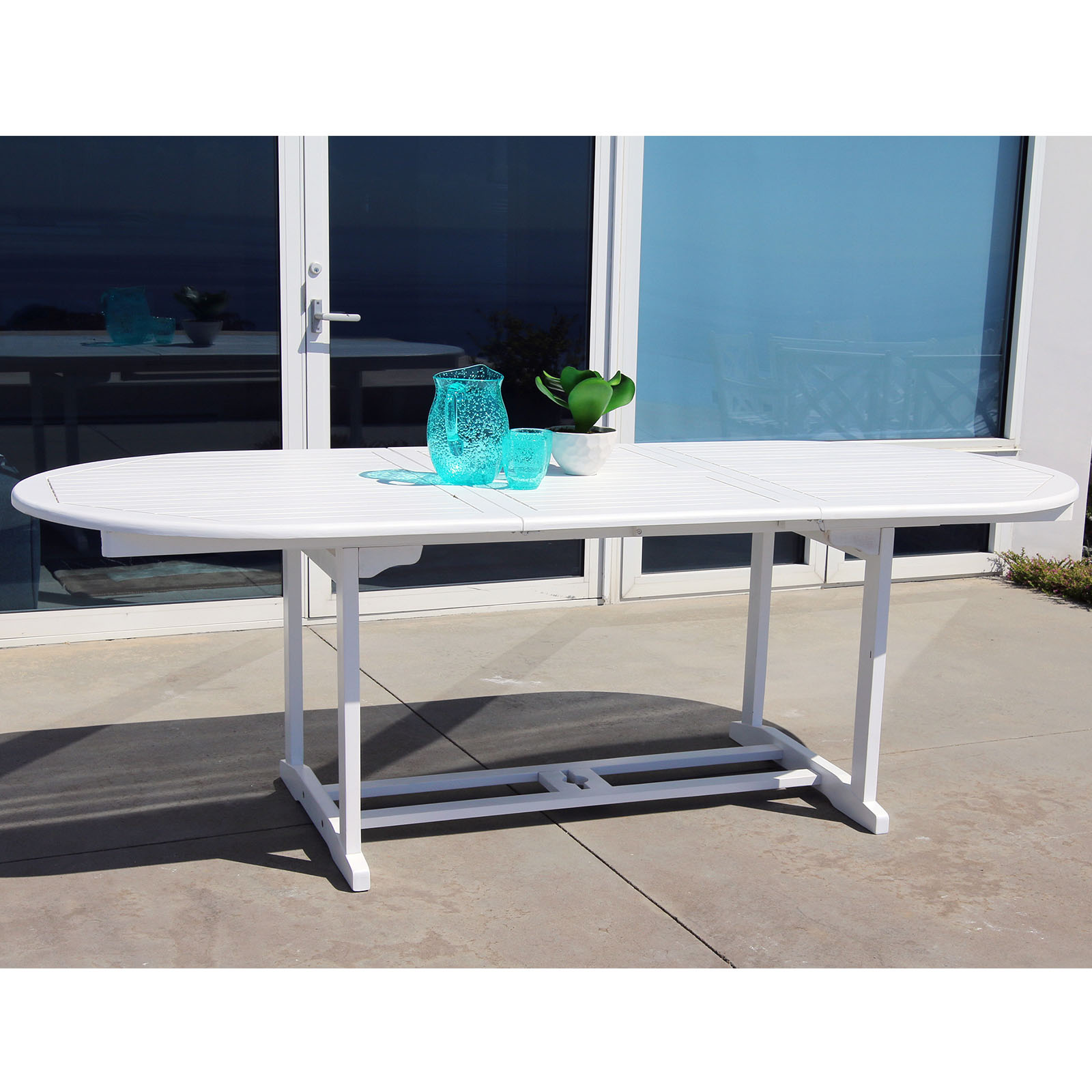 Bradley Eco-friendly Outdoor White Hardwood Oval Extention Garden Table