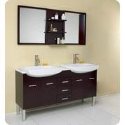 Vetta Modern Double Sink Bathroom Vanity in Espresso Finish (Isarus Chrome)