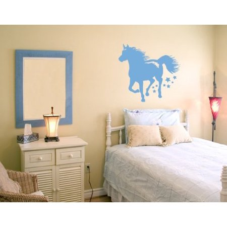 - Running Horse Wall Decal - Wall Sticker, Vinyl Wall Art, Home Decor, Wall Mural - 2292 - 16in x 15in, White