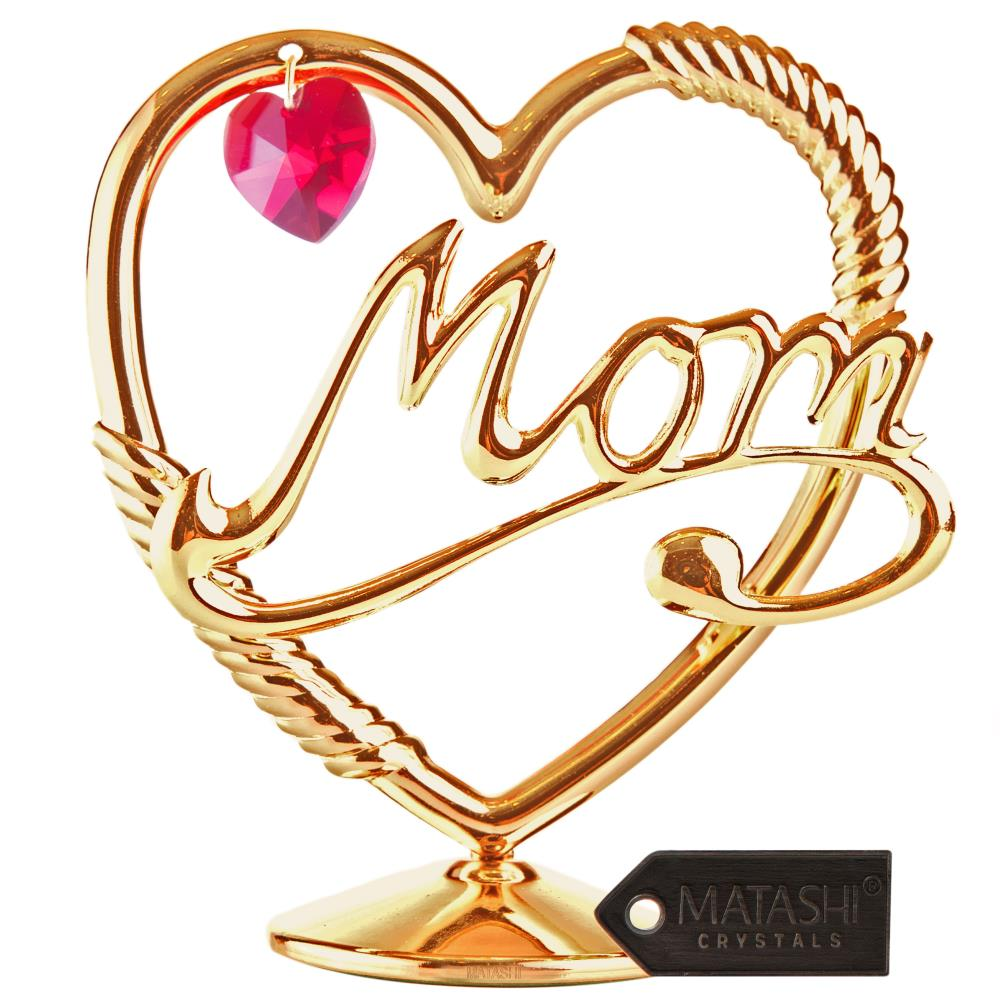 """Crystal Studded """"Mom in a Heart"""" Ornament, Dipped in 24K Gold and Crafted with Red Crystals by Matashi"""