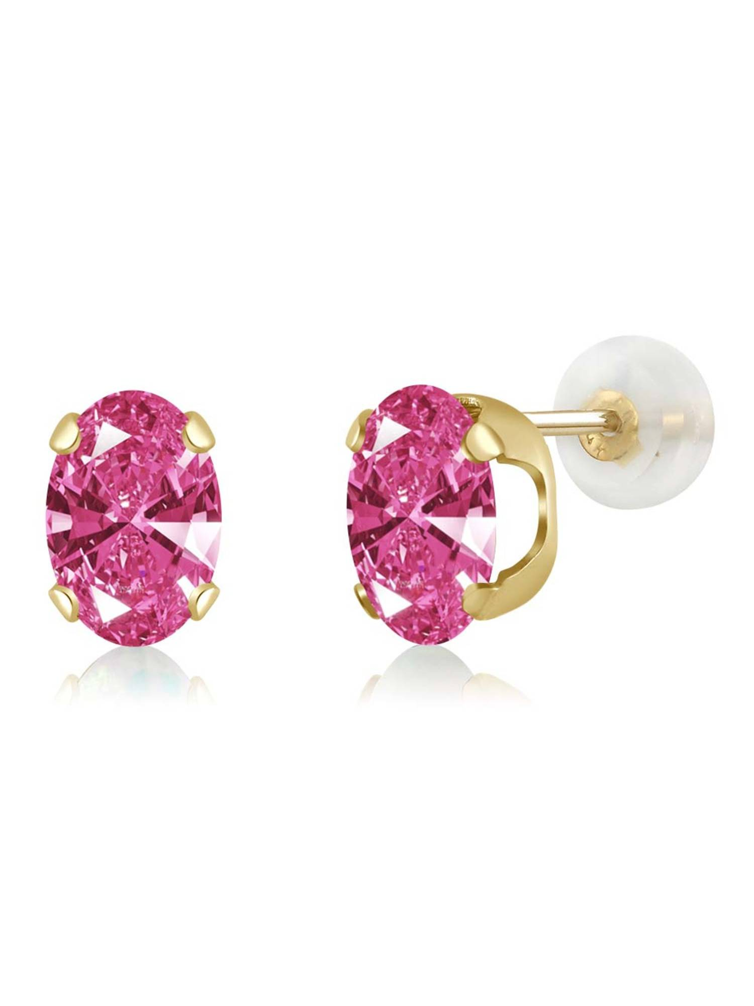 1.52 Ct Pink 14K Yellow Gold Earrings Made With Swarovski Zirconia by