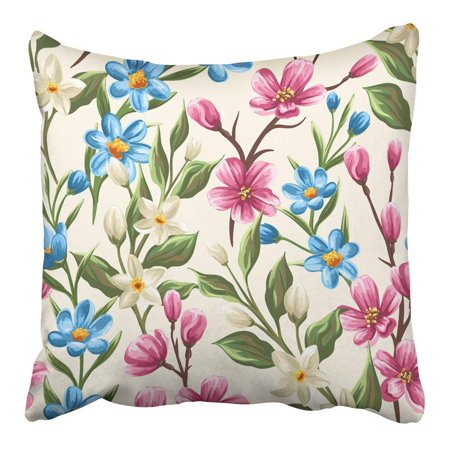 ARHOME Colorful Leaf Floral with Gentle Spring Pink Beige and Blue Flowers Branch Pillowcase Cushion Cover 16x16 inch