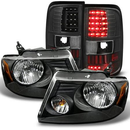 Fit 2004-2008 Ford F150 F-150 Black Headlights+LED Tail Lights 05 06 07