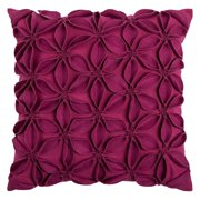 """Rizzy Home Decorative Poly Filled Throw Pillow Solid Botanical Petals 18""""X18"""" Pink"""