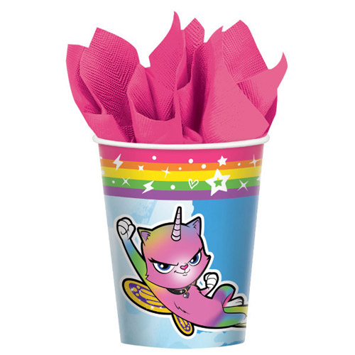 Rainbow Butterfly Unicorn Kitty 9oz Paper Cups (8ct)