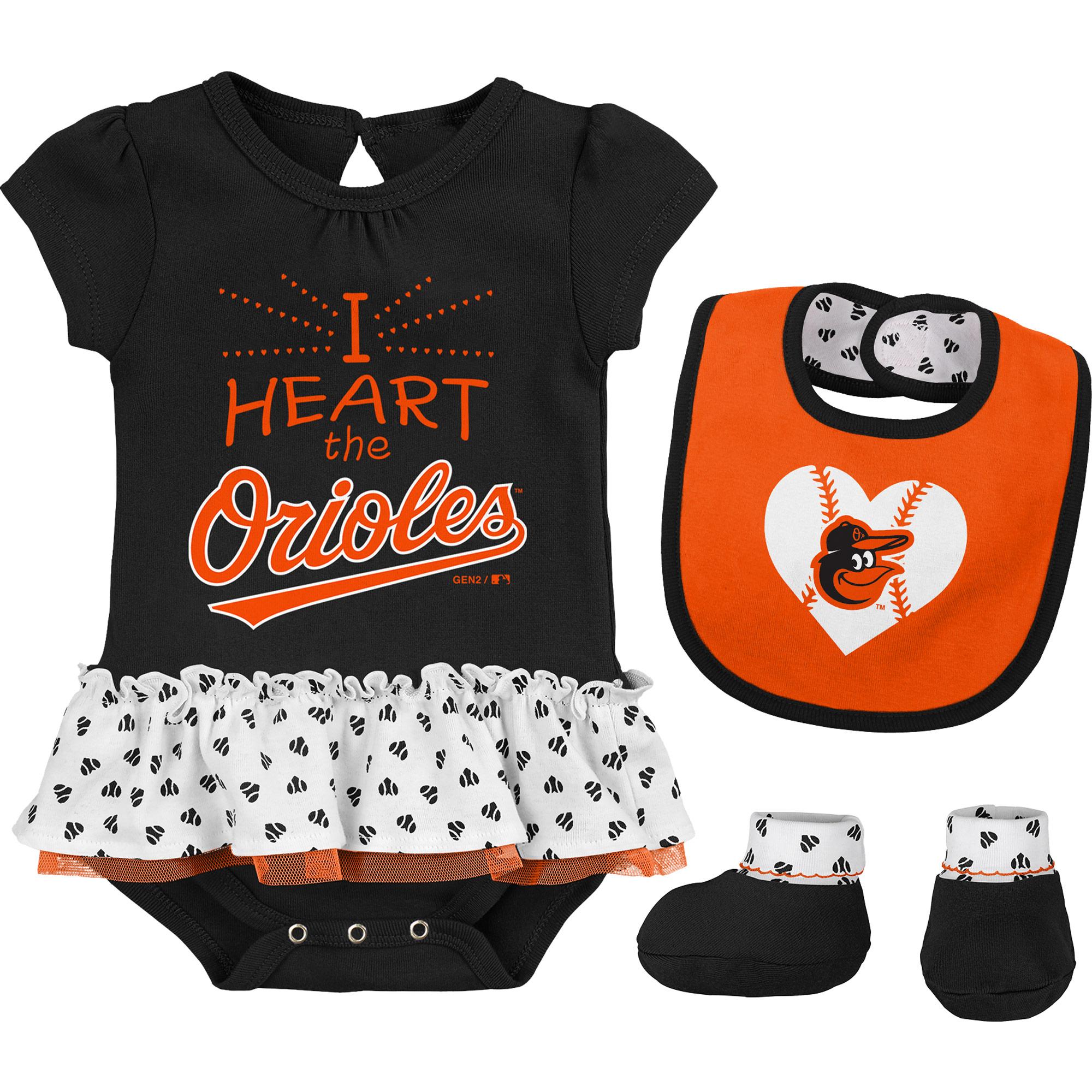 Baltimore Orioles Girls Infant Bodysuit, Bib And Booty Set - Black/Orange
