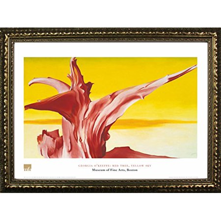 FRAMED Red Tree, Yellow Sky by Georgia O'Keefe 24x32 Art Print Poster Landscape Abstract Famous Painting From Museum of Fine Arts Boston (Georgia Framed)