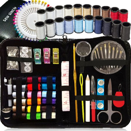 SEWING KIT, Over 130 DIY Premium Sewing Supplies, Mini sewing kit, 38 Spools of thread - 20 Most popular colors & 18 Multi Colors, Extra 40 sewing pins, for ravel, kids, Beginners,Emergency and home - Beginner Sewing Machine