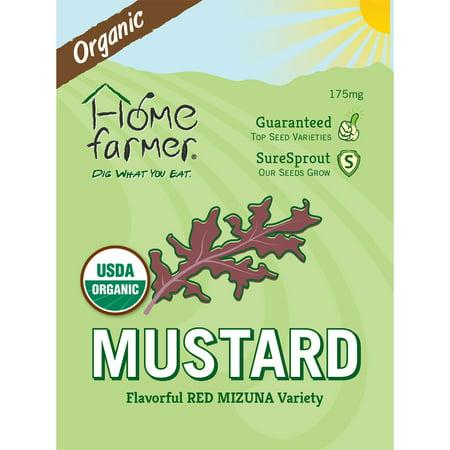 Image of Organic Mustard Greens (Red Mizuna) Seed Packet