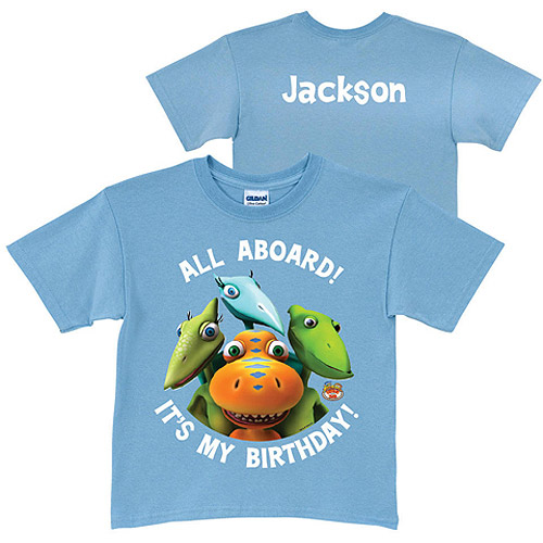 Personalized Dinosaur Train Birthday Boys' Blue T-Shirt