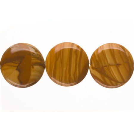 Puffed Wood Grain Jasper Flat Round Beads Semi Precious Gemstones Size: 20x20mm Crystal Energy Stone Healing Power for Jewelry Making ()