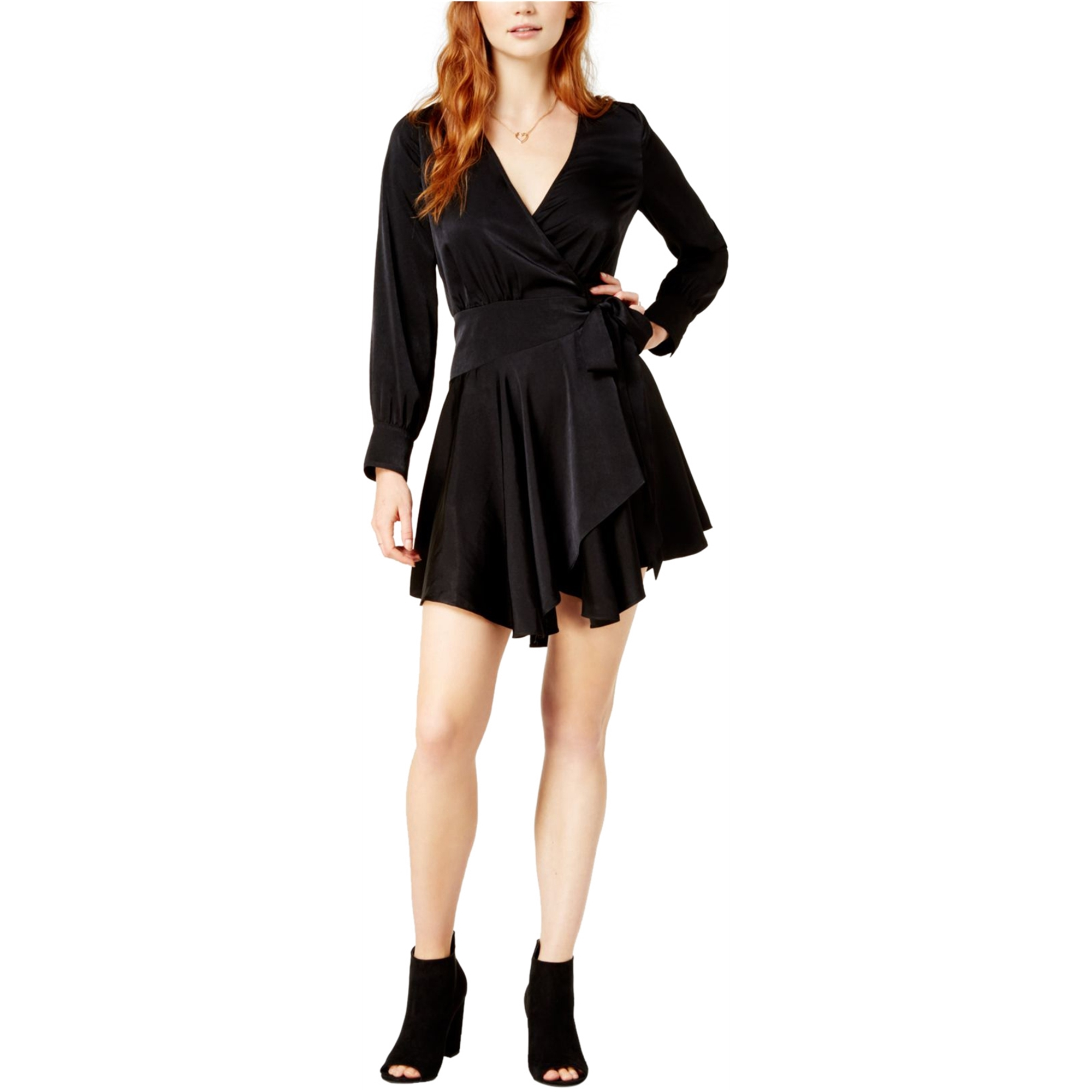 bar III Womens Solid Asymmetrical Wrap Dress