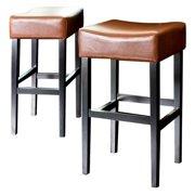 Classic Backless Leather Bar Stool - Hazelnut - Set of 2