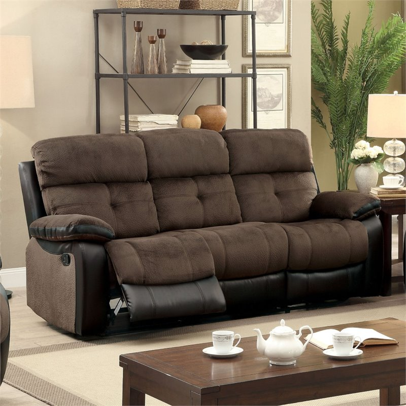 furniture of america gwendalyn recliner sofa in brown and espresso