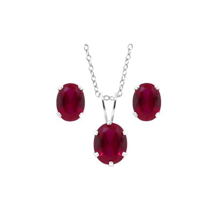 4.84 Ct Oval Created Ruby 925 Silver Pendant and Earrings Set with 18