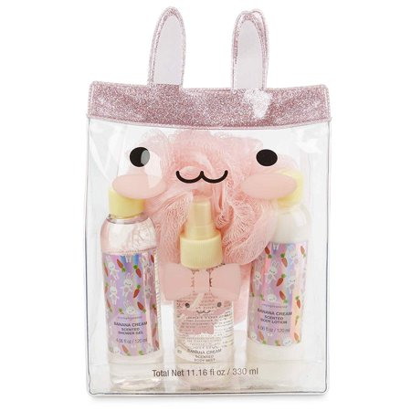 Charming Charlie Bath and Tote Bag Gift Set - Bunny-Themed Organza Travel Bag, Body Care Essentials - Pack of 4, Pink