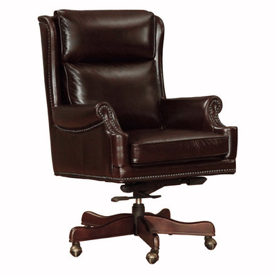 Lazzaro Clinton Leather Office Chair in Cranberry