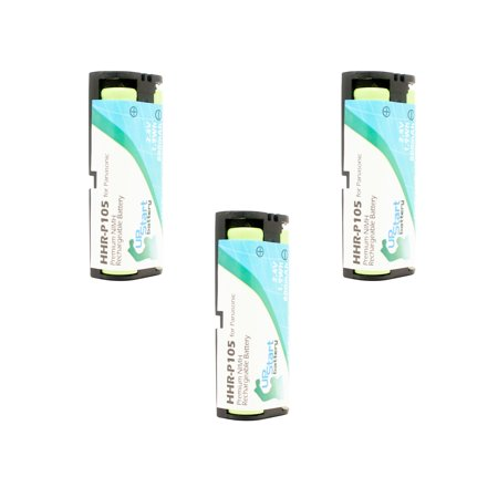 3x Pack - Panasonic HHR-P105 Battery - Replacement for Panasonic Cordless Phone Battery (800mAh, 2.4V,