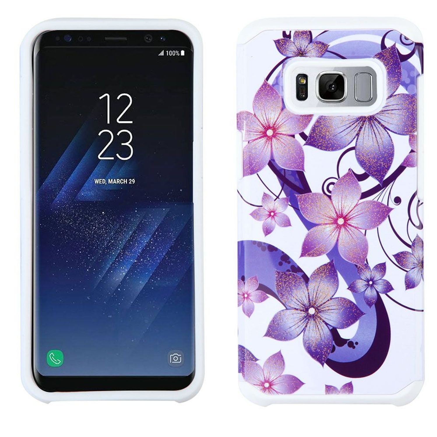 Samsung Galaxy S8+ Case, Samsung Galaxy S8 Plus Case, by Insten Flowers Dual Layer [Shock Absorbing] Hybrid Hard Plastic/Soft TPU Rubber Case Phone Cover For Samsung Galaxy S8 Plus S8+, Purple/White