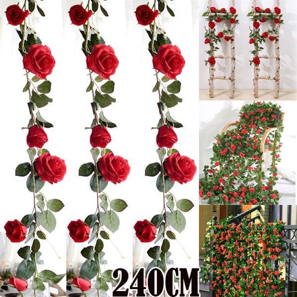 Artificial Fake Silk Rose Flower Ivy Vine Garland Wedding Party Home Decor DIY