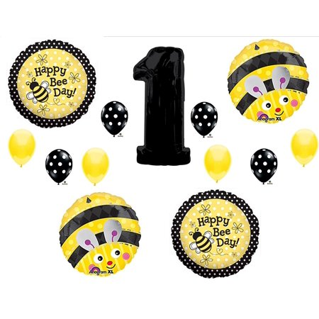 BUMBLEBEE 1st First Happy Birthday Party balloons Decorations Supplies, 1st Birthday Bumblebee Bee mylar and latex balloon kit By Anagram (Beer Party Decorations)
