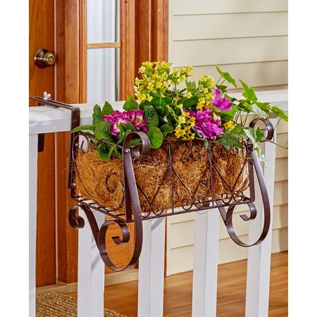 Decorative Metal Heart Scrolled Rail Or Fence Planter ...