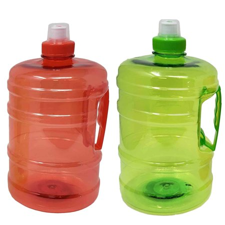 Large Sports Water Bottle Jug 67oz / 2L with Carrying Handle, Leak Proof, Nonporous Glass Like Material for Hiking Workout Gym Yoga Camping Hiking | ½ Half Gallon | BPA Phthalate Free-Assorted Colors Leak Proof Backpack Bottle