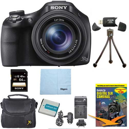 Sony DSC-HX400V/B DSCHX400VB DSCHX400V HX400 20 MP Digital Camera Bundle with 64GB High Speed Card, Spare Battery, Rapid AC/DC External Charger, Padded Case, DVD Photography Tutorial, SD Card Reader