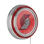 NBA Chrome Double Rung Neon Clock - City - Portland Trailblazers