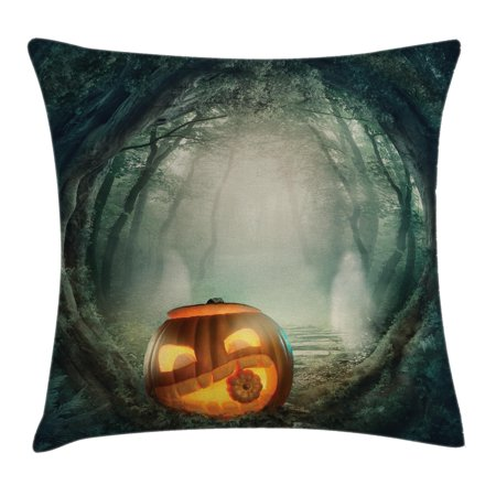 Halloween Decorations Throw Pillow Cushion Cover, Scary Halloween Pumpkin Enchanted Forest Mystic Twilight Party Art, Decorative Square Accent Pillow Case, 16 X 16 Inches, Orange Teal, by Ambesonne](Throw The Best Halloween Party)