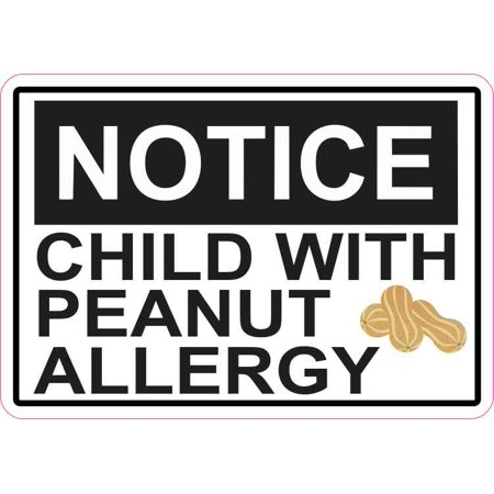 5in x 3.5in Notice Child With Peanut Allergy Magnet Magnetic Vinyl Food Sign (Peanut Allergy Sign Halloween)