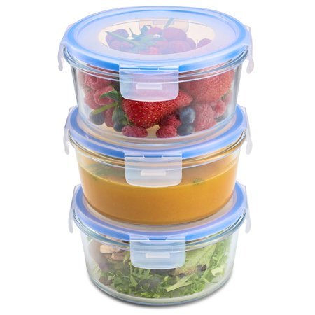 ShopoKus Superior Glass Round Meal Prep Containers -3pk (32oz) Airtight Food Storage Containers with 100% Leak Proof Locking Lids, Freezer to Oven Safe Great on-the-go Portion Control Lunch Containers