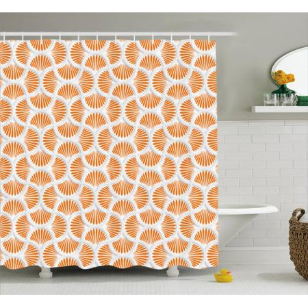 6550624c5458 Orange and White Shower Curtain, 3D Style Grid with Rays Geometric and  Floral Design Wavy Lines Tile, Fabric Bathroom Set with Hooks, 69W X 84L  Inches ...