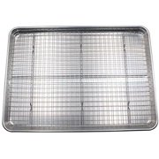 Checkered Chef Baking Sheet and Rack Set - Aluminum Cookie Sheet Tray/Half Sheet Pan for Baking with Stainless Steel Oven Safe Cooling Rack Single Tray and Rack