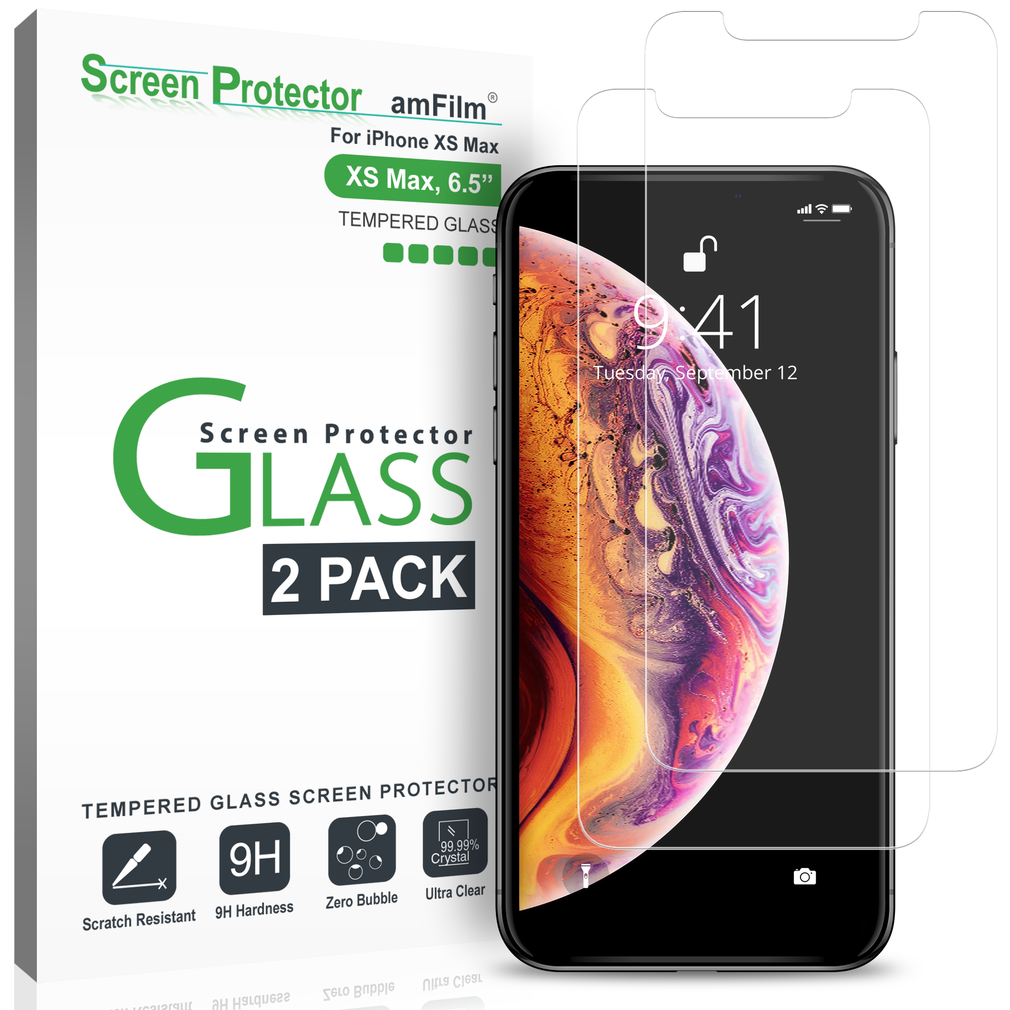 amFilm iPhone XS Max Tempered Glass Screen Protector with Easy Installation Tray for Apple iPhone XS Max (2 Pack)