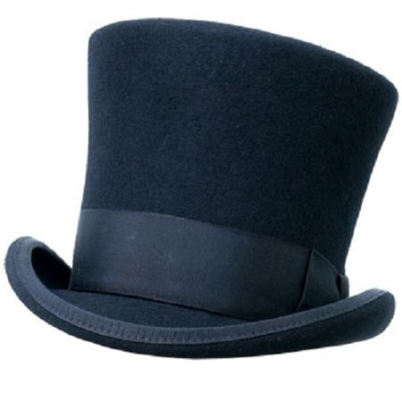 Black Wool Felt Top Hat LRG/XL Caroler Victorian Dickens Tall Costume Slash (Caroler Costumes)