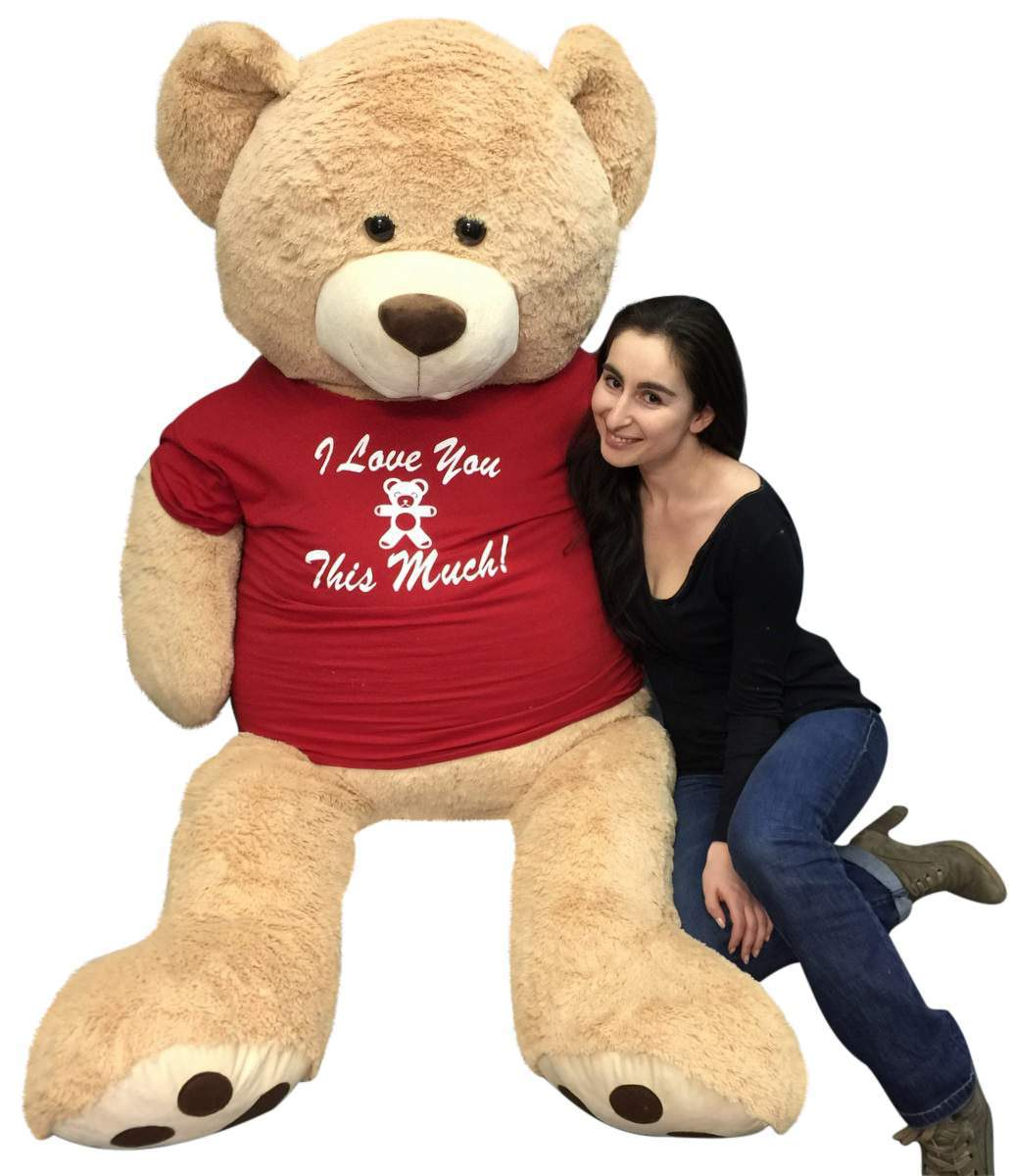 big plush giant 6 ft teddy bear soft tshirt says i love you this