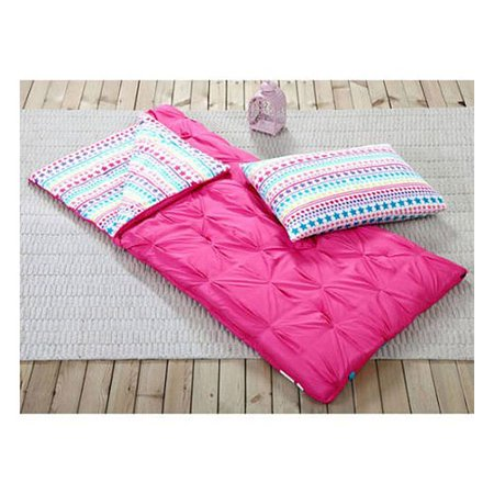 Sleeping Bag and Pillow Cover, Pink with Rainbow Stars Indoor Outdoor Camping Youth Girls](Sleeping Bag Pillow)