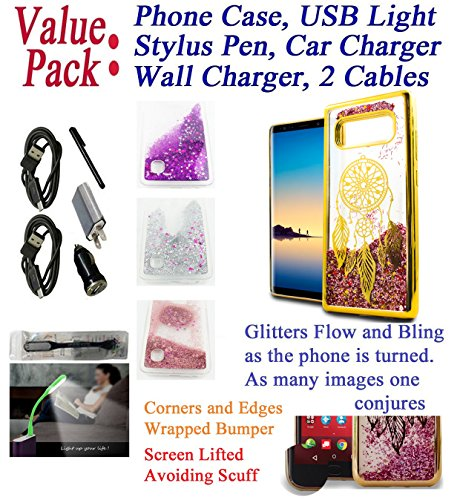 "Value Pack Cables + ffor 6.3"" Samsung Galaxy Note 8 note8 Case Flowing Glitter Phone Case Scratch Shield Skin Slip Guard Grip Wrap Slim Cover Eiffel Gold"