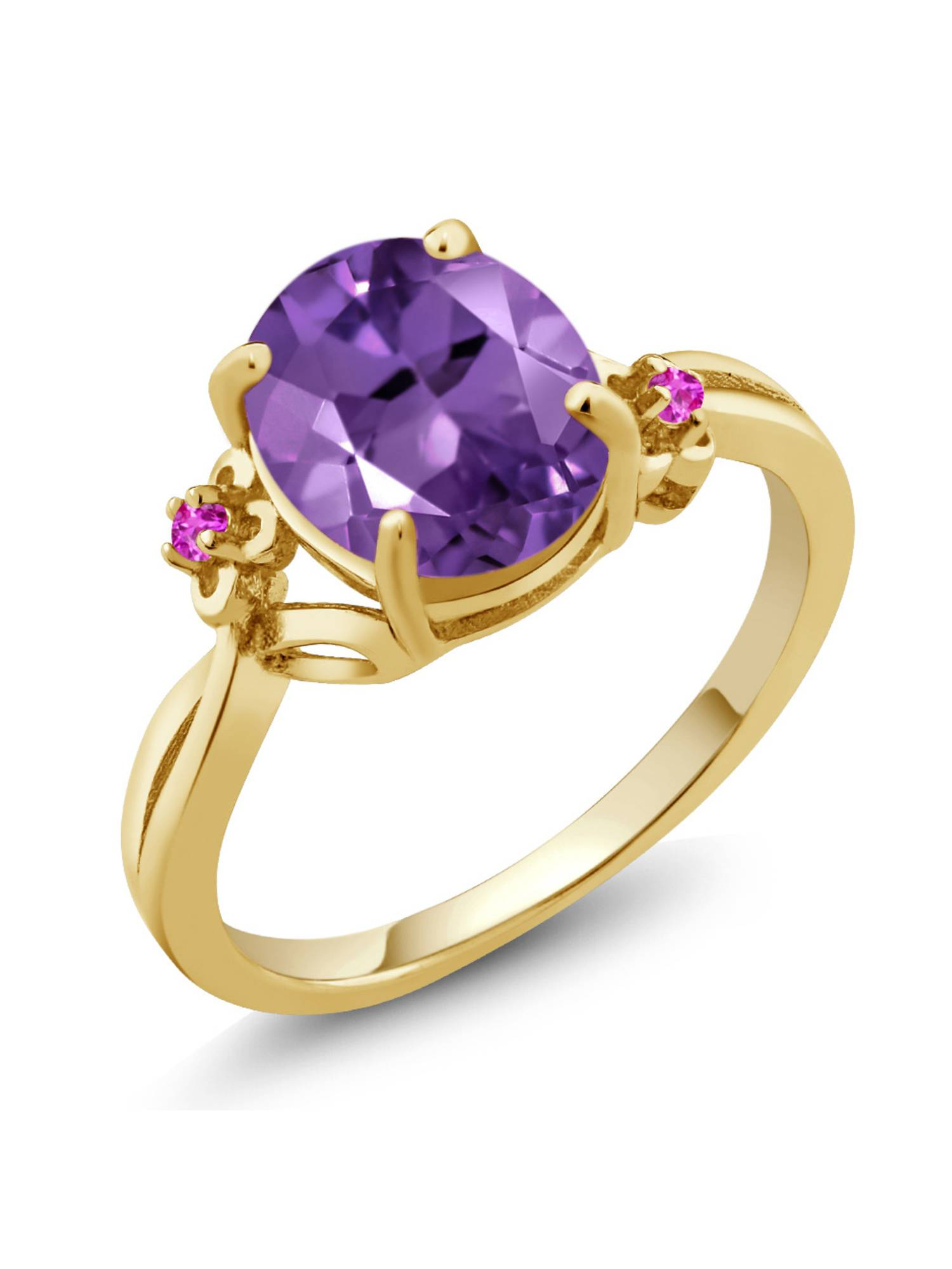 2.24 Ct Oval Purple Amethyst Pink Sapphire 18K Yellow Gold Plated Silver Ring by