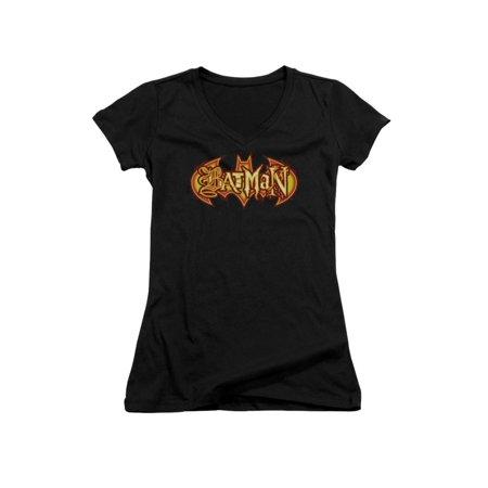 Batman DC Comics Halloween Fiery Shield Juniors V-Neck T-Shirt Tee