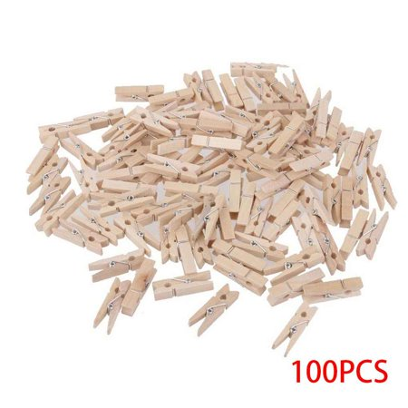 100pcs 3.0*0.4cm Mini Natural Wooden Clothe Clip Photo Paper Peg Clothespin Wood Craft Clips - Reindeer Clothespin Craft