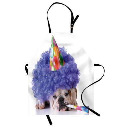 Kids Birthday Apron Boxer Dog Animal with Purple Wig with Colorful Party Cone Funny Photo Print, Unisex Kitchen Bib Apron with Adjustable Neck for Cooking Baking Gardening, Multicolor, by Ambesonne