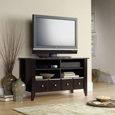 Sauder Shoal Creek Jamocha Wood Panel TV Stand, for TVs up to 46″