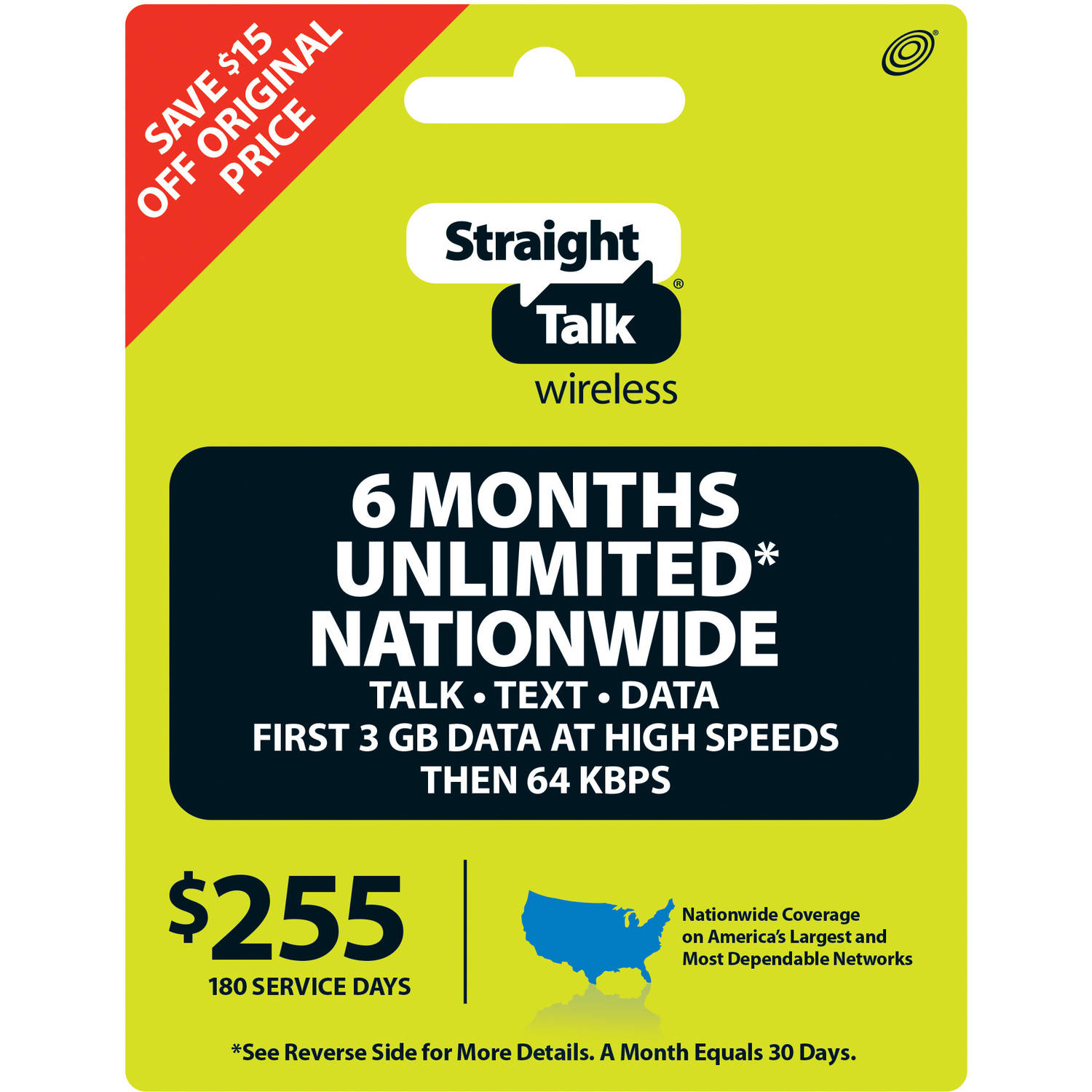 Straight Talk Unlimited* Text, Talk, and Web Access 180 Day Service (Email Delivery)