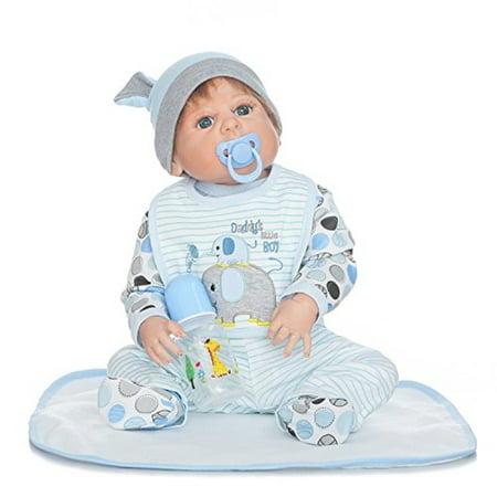 AnneDoll 55cm Reborn Biy Boy Full Body Silicone Dolls Anatomically Correct 22inch Realistic Newborn Doll Toy Cute Birthday Christmas Gift