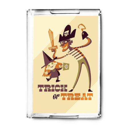 Trick or Treat - Dad & Daughter - Retro Halloween - Lantern Press Artwork (Acrylic Serving Tray) (Dad And Daughters Elsa Halloween)