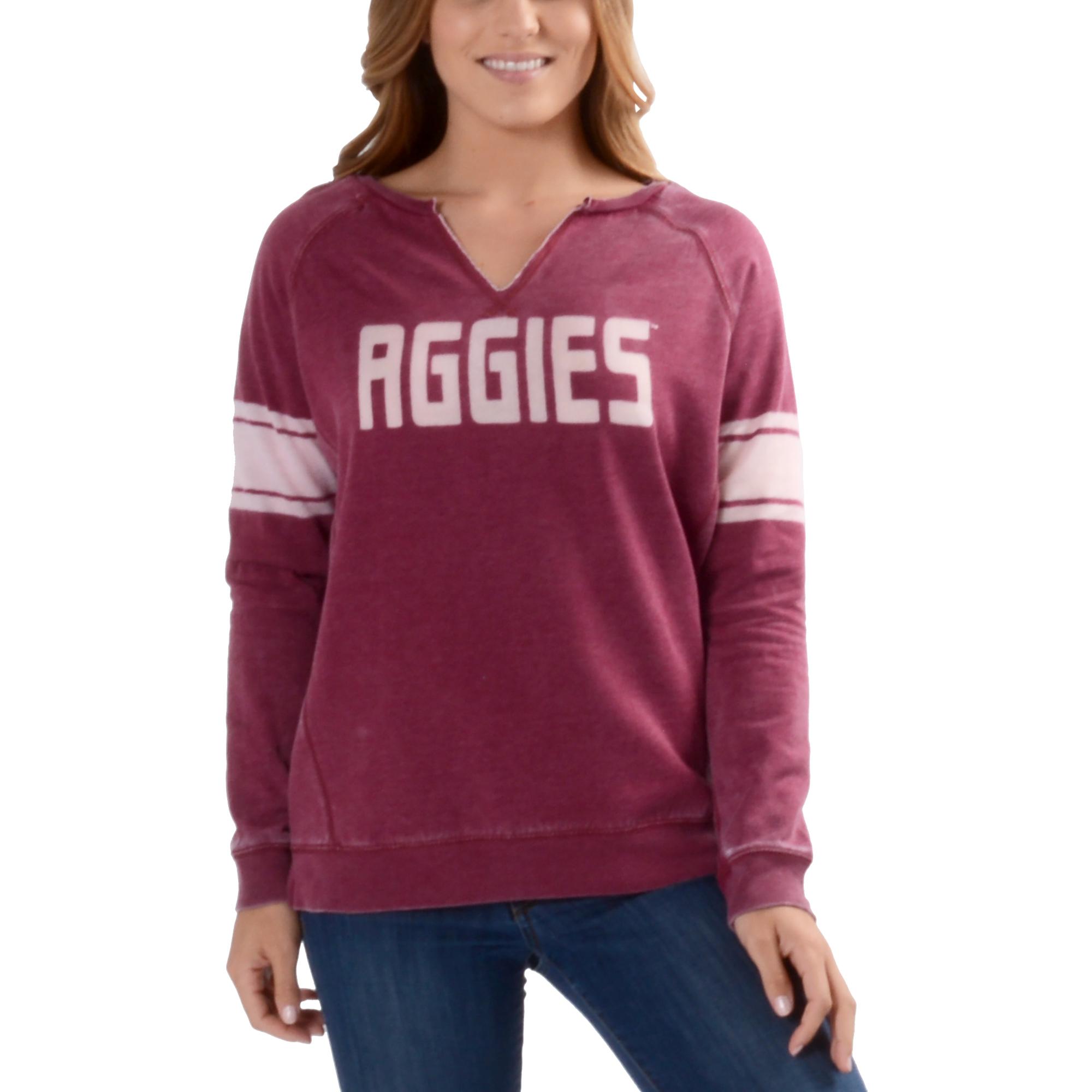 Women's Heathered Maroon Texas A&M Aggies Clean Stripe Sweatshirt